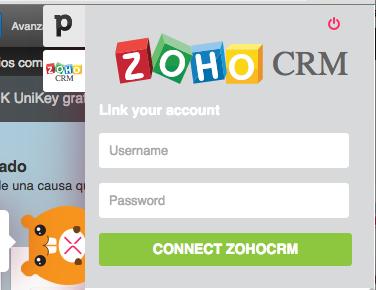 Introducir credenciales ZOHO CRM