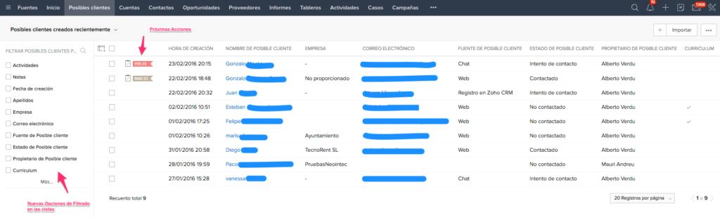 Vista Posible Cliente ZOHO CRM