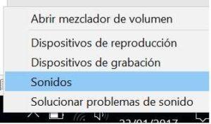Acceso al menu sonido windows 10